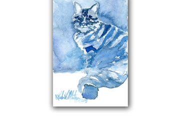 Luciano Tabby Cat Kitten Blues  Original Watercolor painting LLMartin Free Shipping USA Nursery, Cat Lover , Country, Den
