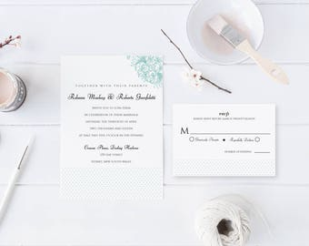 Flower and Dots Wedding Invitation