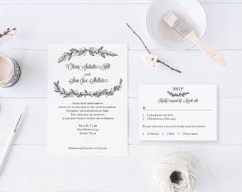 Black and White Twigs and Brush Wedding Invitation