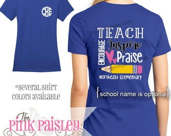 Monogrammed Teacher Shirt | Teacher Appreciation Gift | Personalized Teacher t-shirt l Last Day of School Shirt