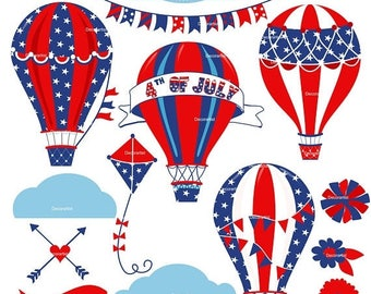 ON SALE Independence day clipart, 4 th of july clipart , 4th of july Party printable, Patriotic clipart, hot air balloon clipart