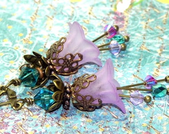 Lucite Trumpet Flower Earrings - Victorian Lavender Lily - Brass bead caps and leverback earwires - Swarovski crystals