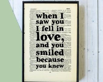 SUMMER SALE William Shakespeare Quote Print -When I Saw You I Fell In Love... -  Romantic Gift - Typographic Art - Framed Book Page Print -
