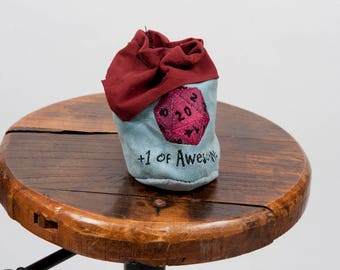 Large leather dice bag rpg gamer d20 embroidery larp pouch tabletop dungeons dragon geek nerd gift fantasy pathfinder accessory maroon blue