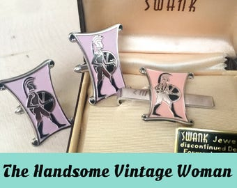 Spartan Swank Cuff Links, 1953 Soldier Swank Set, Pink Cuff Links Set, Large figural Cufflinks