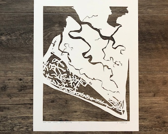 Bald Head Island Hand Cut Map ORIGINAL, 11x14
