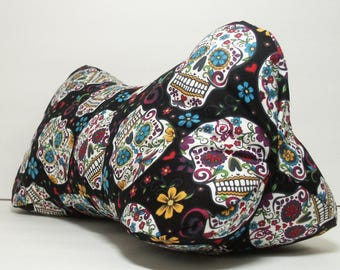 Skulls Folk Art / Dog Bone Shaped Contoured Fabric Neck Pillow / FULLY LINED / Relieves Pressure Points / Great for TV & Travel