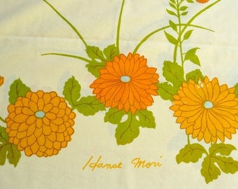 Vintage Pillowcases - Hanae Mori Floral Mums on Yellow - Standard Size Pair NOS
