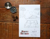 Camp Birthday Party Favor - Camp Birthday Party Favor -Camping Coloring Book - Goody Bag Kids Camping Party Treat Bags - Woodland Party
