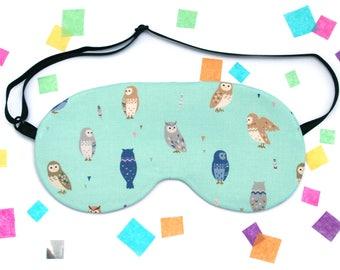 Owl Eye Mask, Cute Bird Fabric, Travel Mask, Silk Back, Barn Owl, Eagle Owl, Birds of Prey