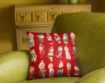 Vintage Christmas Elves Pillow Cover - photos of knee hugging elves - custom backgrounds - 2-sided printing