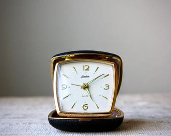 Vintage Folding Travel Alarm Clock, Linden Japan, Black and Gold