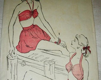 Sale:) SALE Swimsuit Pattern *  1940's Advance  Pattern 4563 ** Bombshell Pinup Playsuit Bathing Suit, Panties & Skirt ** Size 12, bust 30