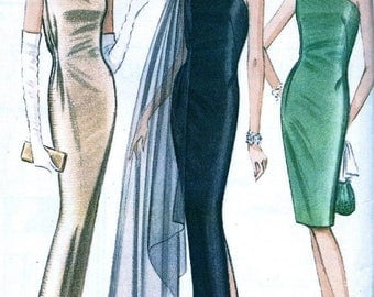 Sale:) Pauline Trigere  UNCUT  McCalls Designer  Pattern 8042 * GLAMOROUS One Shoulder Evening Dress Gown and Scarf * Size 10 * Bust 31