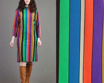 vintage 60s RAINBOW STRIPED gradient shift scooter dress size medium large M L / mod secretary midi dress 70s 1960s 1970s