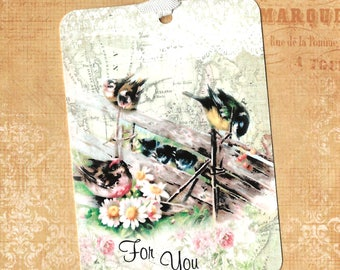 Gift Tags, Birds & Flowers, For You, Party Favors, Birthday Tags, Bird Lover