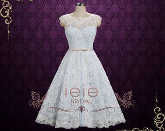 Ice Blue Vintage Lace Tea Length Wedding Dress | Shannon