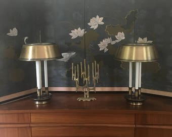 PAIR Vintage Brass Bouillotte Table Library Lamps three 3 light French Country
