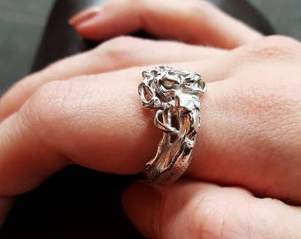 Mermaid Ring in Sterling Silver, Wraparound Band in Ocean Waves