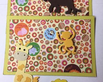 Premade ZOO Jungle Paper Piecing Photo Mat Set For Scrapbook Album Page