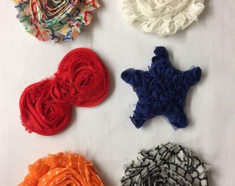 Set of 6 Fabric Scrapbook Flowers Fabric Flower Appliques