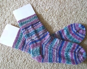 Socks - Handknitted Socks - Colors Mixed Selfstriping - Unisex Size Medium 4-6 US