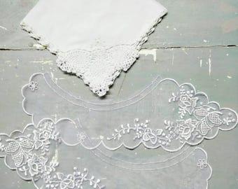 Nylon Lace collar, vintage linen lot, vintage lace collar, vintage linen lace hankie, lace hankie, nylon lace collar, sew, vintage craft lot
