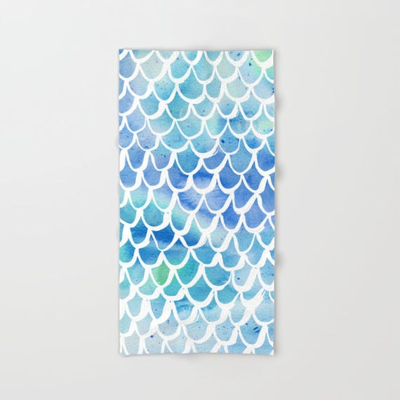 Blue Mermaid towel - Blue hand towel - Mermaid beach towel - Watercolor hand towel - Blue bath towel - Watercolor beach towel
