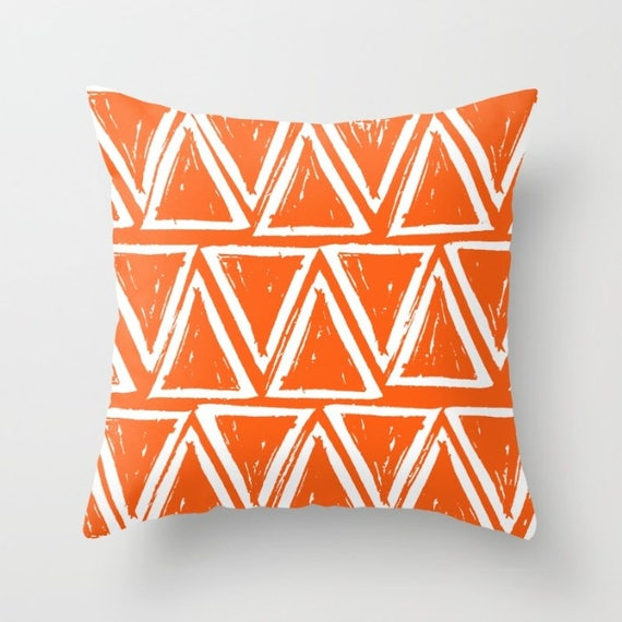 OUTDOOR Throw Pillow . Orange Outdoor Pillow . Orange patio cushion . Modern Geometric Pillow Triangle . 16 18 20 inch . Rectangle Pillow