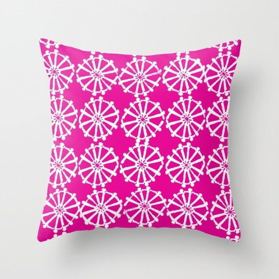OUTDOOR Throw Pillow - Magenta Outdoor Pillow - Pink patio cushion - Modern Geometric Pillow Wheel -  16 18 20 inch - Outside Pillow
