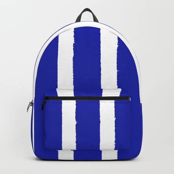 Azure Blue and White Stripe Backpack bookbag Cobalt backpack Sapphire Blue bookbag Kids backpack backpack Modern school bag Striped backpack