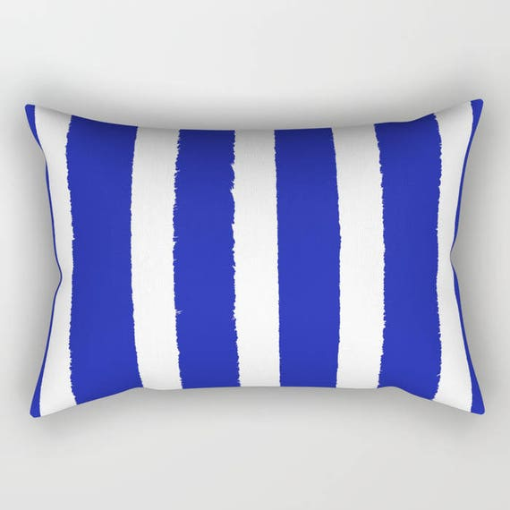 Azure Blue and White Stripe Lumbar Pillow . Toddler Pillow . Blue Pillow . Rectangle Pillow . Striped Cushion . Travel Pillow 14 x 20