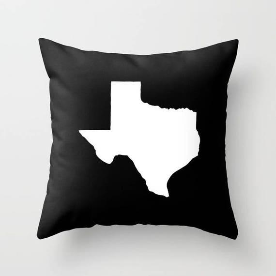 Texas Throw Pillow - Black & White Pillow - Texas Cushion - Black Pillow - Texas Pillow - Texas State Pillow - Texas Gift 16 18 20 24 inch