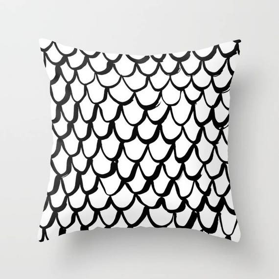 Black and White Mermaid Throw Pillow . Black and White Pillow . White Cushion . Mermaid Pillow . Pillow . Mermaid Cushion 16 18 20 24 inch