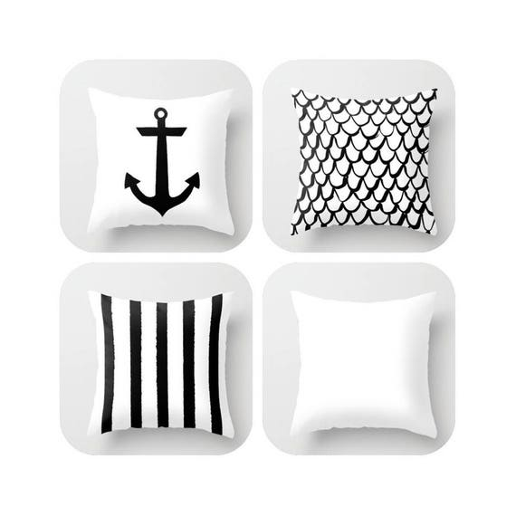 OUTDOOR Throw Pillow . Black and White Mermaid Pillow . Coastal Patio Cushion . Anchor Pillow . Outside Stripe Pillow . 16 18 20 inch
