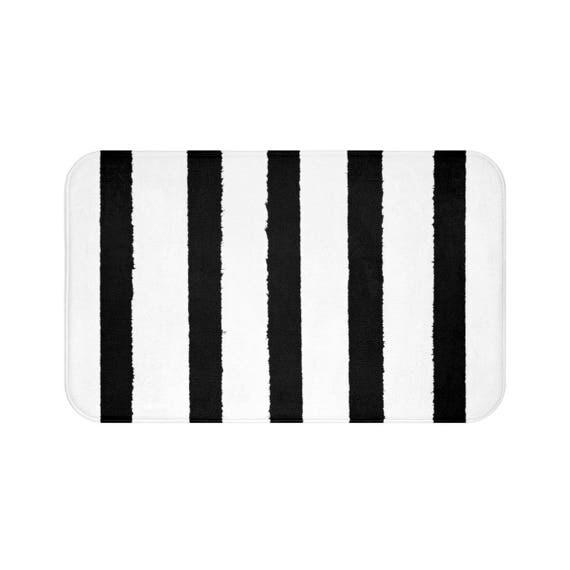 Bath Mat . Black and White Bath Mat . Striped Bath Mat . Bath Rug . Shower Mat . White Rug . Geometric Rug . Black and White Striped Rug
