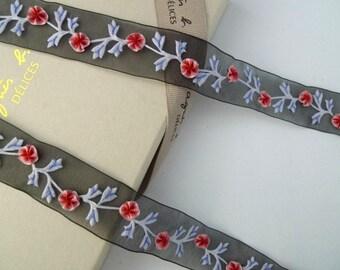 Embroidered trim, Handmade trim, Floral trim, Organza trim, Black trim, Retro style Vintage style trim, 3 yards NT284