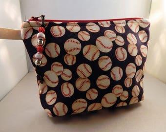 Baseball Bag Navy Red Baseball Wristlet Makeup Bag Cosmetic Travel Bag Organizer Bag Cute