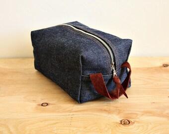 Indigo denim dopp kit/ medium mens toiletry bag/ canvas pouch/ travel kit/ leather trim - ready