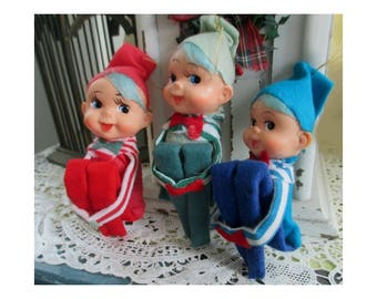 Pixie Kneehugger Ornaments * Rare Blue Hair Kneehuggers With Bow Ties * Felt Elf Shelf Sitters * JAPAN * Set Of Three Ornaments