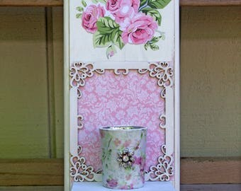 Shabby Roses Wall Candle Sconce