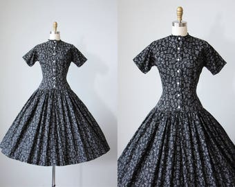 R e s e r v e d 50s Dress - Vintage 1950s Dress - Black White Insect Floral Novelty Print Cotton Dress XS - Lanz Dress