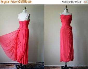 ON SALE 50s Dress - Vintage Couture 1950s Dress - Coral Draped Chiffon Goddess Gown w Trained Skirt M - Tender Trap Dress