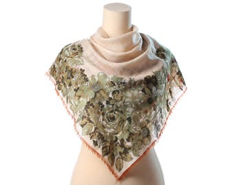RED GREEN POPPY Print Scarf 60s Wool Woven Shawl Cream White Soft Vintage Floral Bold Poppies Flowers Boho 1960s Neck Scarf Womens Moms Gift