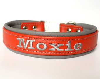 Personalized Leather Dog Collar Padded Lining One and Half Inch (1.5 inch) Wide Tapered down to one inch side release buckle