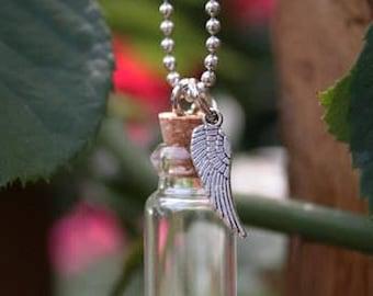 10 Pack Angel Wing - Ashes Urn - Cremation Necklace - Ashes Holder - Vial - Bottle Pendants