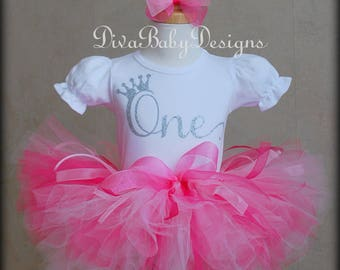 ONE first birthday tutu outfit in pink, hot pink and silver -Also comes in ages TWO, THREE, Four and Five