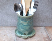 Cutlery and utensil drainer toothbrush holder handmade stoneware ceramic pottery wheel thrown handthrown