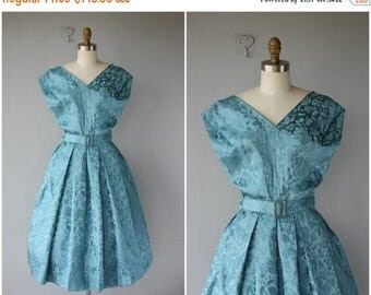 48 HR FLASH SALE 1950s Cocktail Dress   50s Party Dress   50s Silk Brocade Dress   1950s Dress   50s Dress   Blue Floral Dress   1950s Party