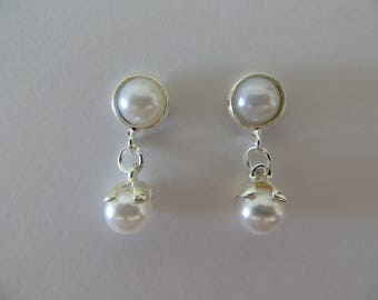 Magnetic Dangle Pearl Magnetic Earrings Clip on non pierced